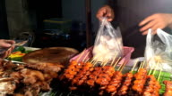 Shopping  Street food grilled chicken or BBQ video