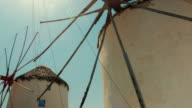 POV Shot Featuring Traditional Windmills in Mykonos video