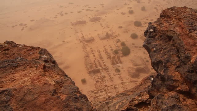 Shot from mountain looking at Napata ruins in Sudan video