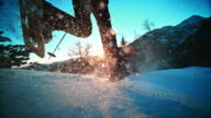 SLO MO LD shot Mountaineers snowshoeing on top of mountain video