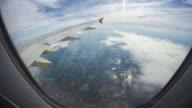 shot of a view through a window of an aircraft. video
