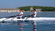 HD: Shot of Double scull rowing team practicing video
