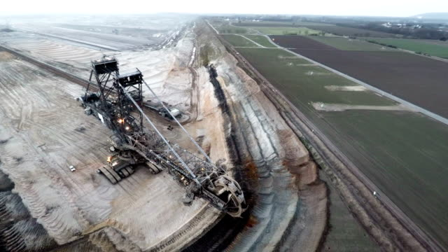 AERIAL shot of Giant Digger in Open Cast Mine video