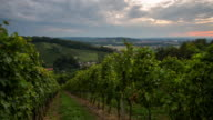 T/L 8K shot of stormy clouds over vineyards at dusk video