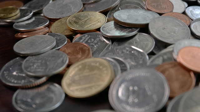 Shot of Thai coin currency with close up video