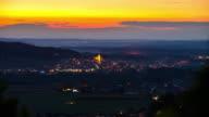 T/L 8K shot of town Ljutomer at dusk video