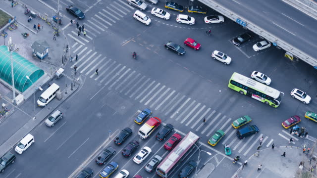 T/L Shot Over City Street Crossing / Beijing, China video