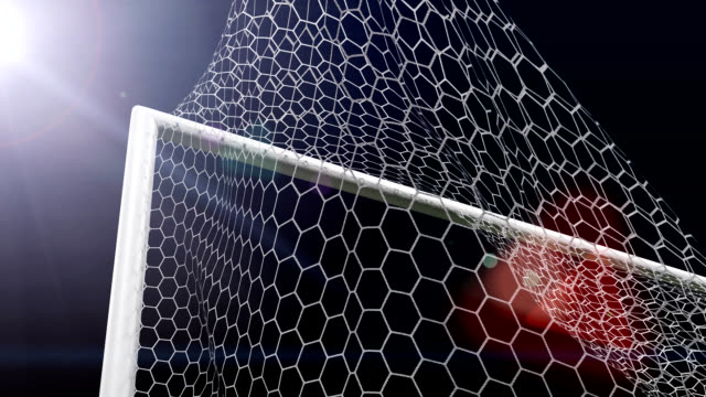 Shot soccer ball a goal in gate video
