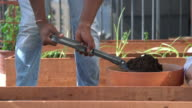 Shovelling soil into a planter box video