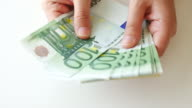 Showing euro banknote money , 4k resolution (UHD) video