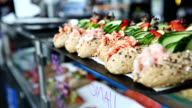 Shrimps sandwiches in the fish market of Bergen video