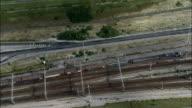 Shuttle Train On Way To Eurotunnel Station  - Aerial View - Nord-Pas-de-Calais, Pas-de-Calais, Arrondissement de Calais, France video