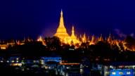 Shwedagon Pagoda Above Yangon Cityscape Day To Night Time Lapse Of Yangon City Myanmar video