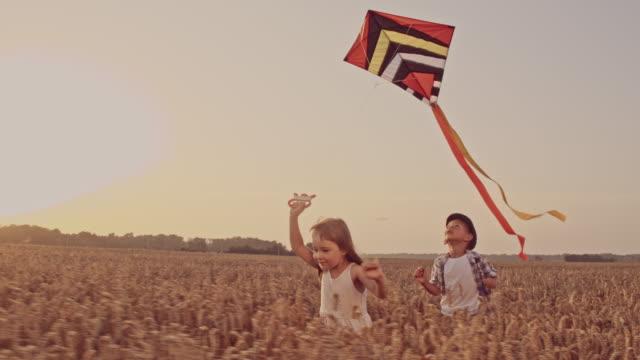 SLO MO Siblings flying a kite video