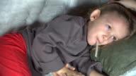 Sick Child, Mother Nursing her Ill Little Girl video