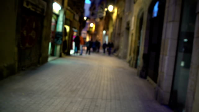 POV of sick, drunk or high person walking in dangerous city district at night video