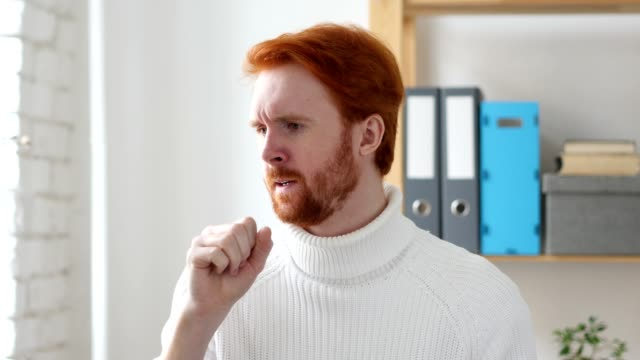 Sick Man with Red Hairs Coughing, Throat Infection video