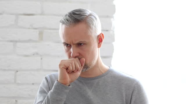 Sick Middle Aged Man Coughing, Cough video