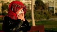 Sick muslim woman sneezing video