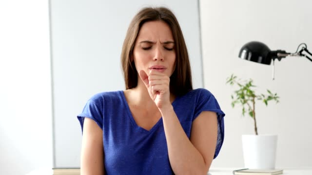 Sick  Woman Coughing, Throat infection video