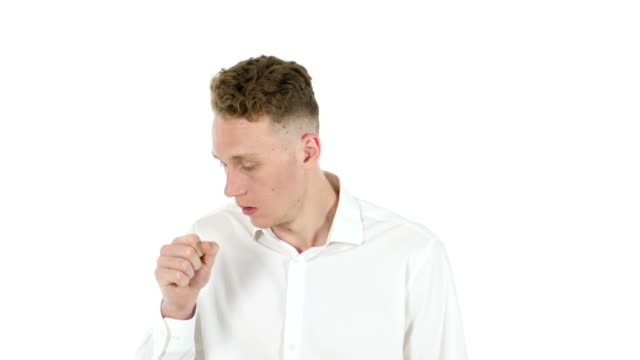 Sick Young Businessman Coughing, Throat Infection video