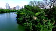 side pan Lou Neff Point Austin Texas Over Town Lake video