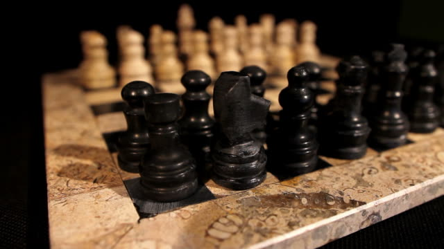 Side shot of a chess board with its figures lined up, the focus goes from black pieces to white pieces video