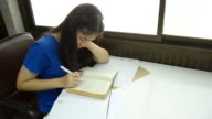 side speed view Thai woman suddenly screen a book video