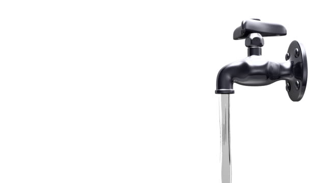 Side View Of Faucet And Water, White Background video