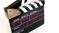Side view on electronic clapboard, time lapse video