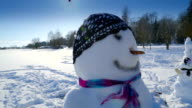 Sideview of the snowman in the grounds video