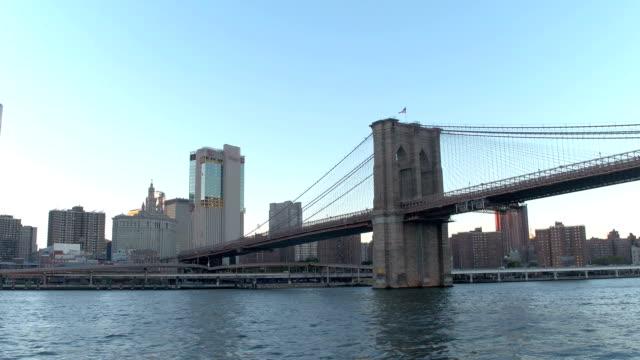 HYPERLAPSE: Sightseeing cruise on the East River under Brooklyn Bridge at sunset video
