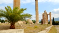 Sightseeing tour around ancient building ruins, summer vacation, tourist trip video
