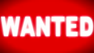 'WANTED' sign on the red screen video