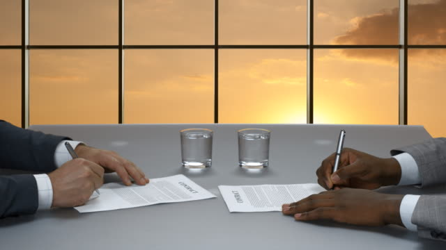 Signature of contracts in the business center. video
