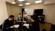 Signing a contract with a team of partners in the meeting room video