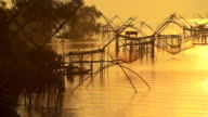 Silhoette scene of fishing trap in southeast asia country. video