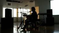 Silhouette man playing guitar video