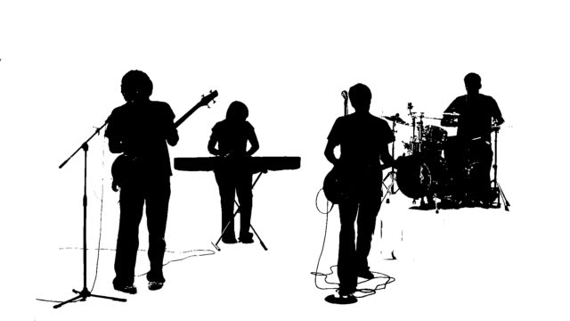 Silhouette of a band singing together video