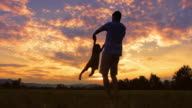 SLO MO DS Silhouette of a father spinning his daughter around in meadow at sunset video