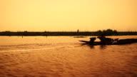Silhouette of a fisherman in Inle Lake, Myanmar video