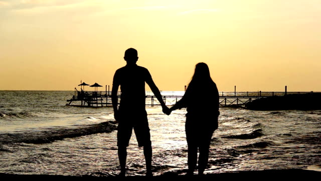 Silhouette Of A Loving Couple Hugging and Kissing Near the Sea at Sunset video