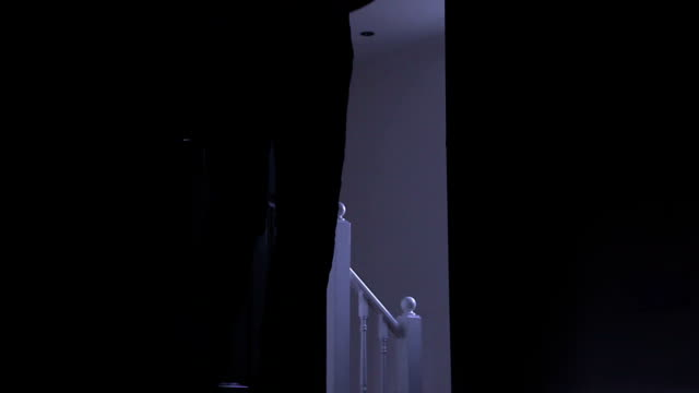 Silhouette of a man leaving dark room, left to right. video