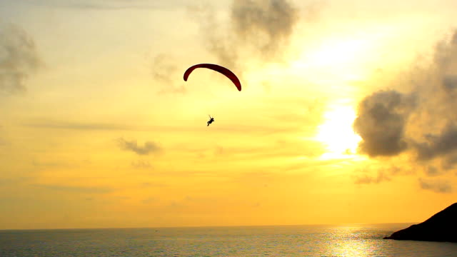 Silhouette Of A Paraglider video
