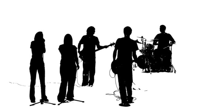 Silhouette of a praise band video
