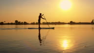 Silhouette of a stand-up paddleboarder video