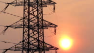 silhouette of high voltage electrical pole structure video
