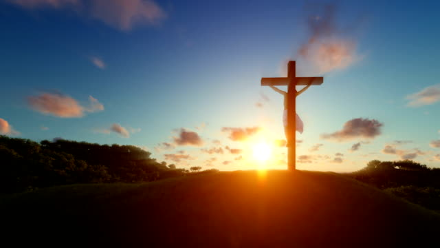 Silhouette of Jesus with Cross over sunset, Luma Matte attached video