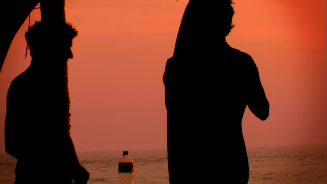 Silhouette of surfers with surfboards at sunset video