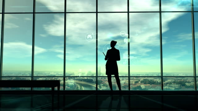 Silhouette of woman and corporate infographics video